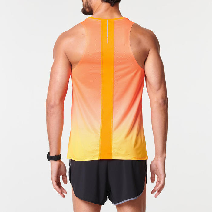 DEBARDEUR RUNNING HOMME RESPIRANT KIPRUN LIGHT ROUGE ORANGE