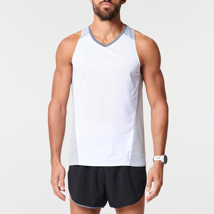 KIPRUN LIGHT MEN'S BREATHABLE RUNNING TANK TOP - WHITE