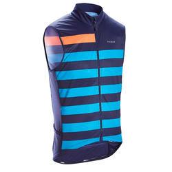 Mouwloos fietsshirt voor heren racefietsen RC500 blauw gestreept