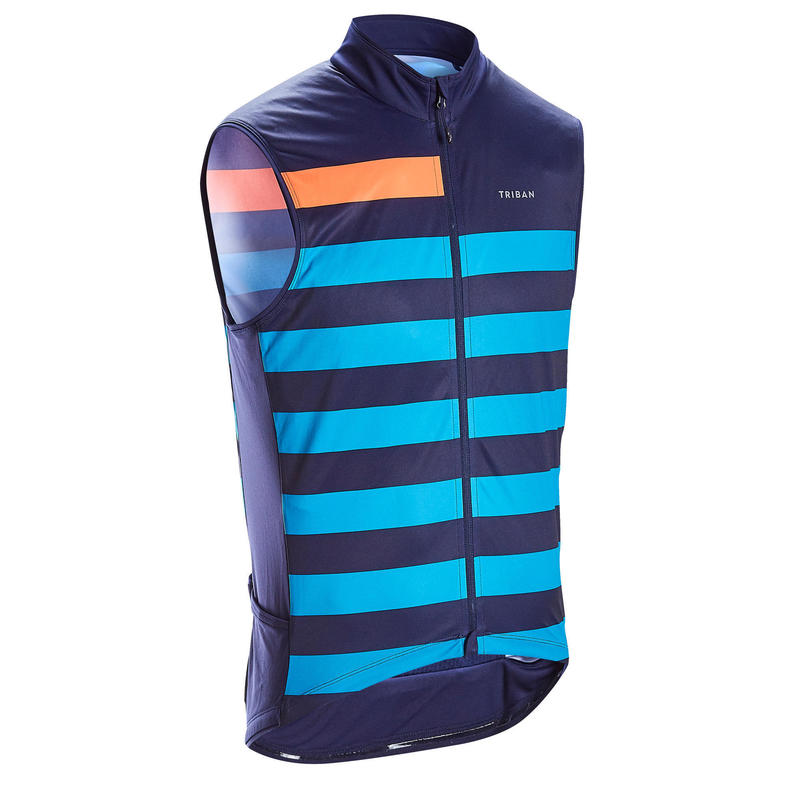 Sleeveless Road Cycling Jersey RC500 - Blue Lines