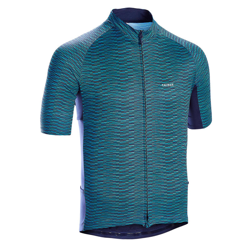Men's Short-Sleeved Warm Weather Road Cycling Jersey RC100 - Snow/Blue