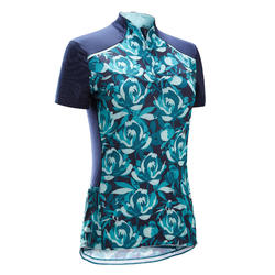 MAILLOT MANCHES COURTES VELO ROUTE FEMME TRIBAN 500 FLORAL VERT