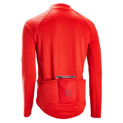 Fietsshirt met lange mouwen voor heren warm weer RC100 anti-uv rood