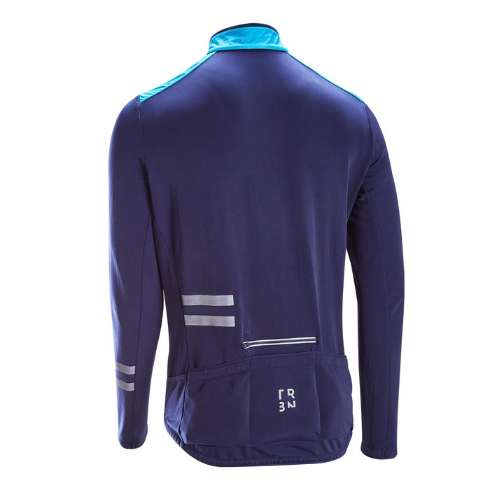 MAILLOT VELO ROUTE MANCHES LONGUES HOMME RC500 SHIELD BLEU