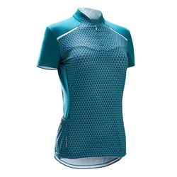 Fietsshirt met korte mouwen voor dames 500 Geometric groen