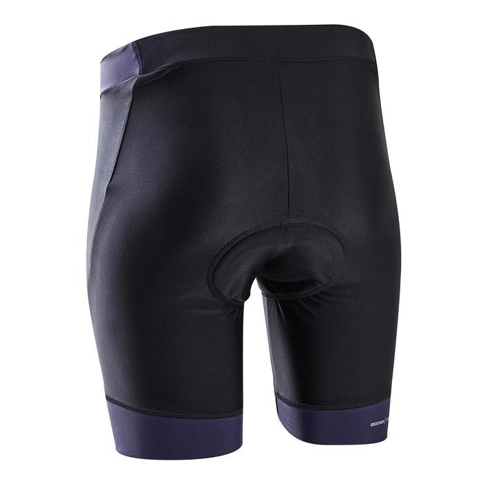 Wielrenbroek dames RC500 zonder bretels zwart/marineblauw