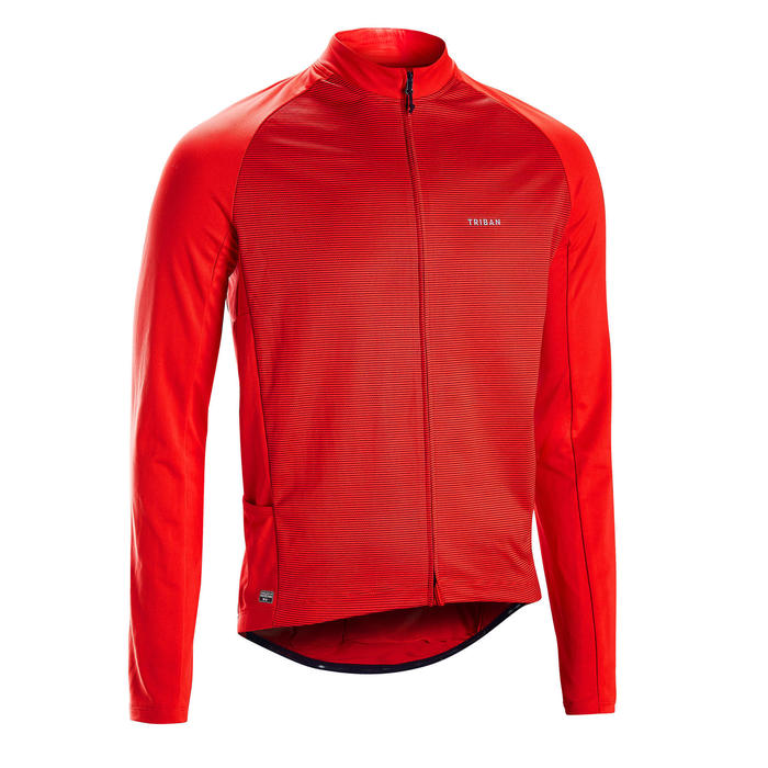MAILLOT MANCHES LONGUES VELO ROUTE TPS CHAUD ANTI UV RC100 ROUGE