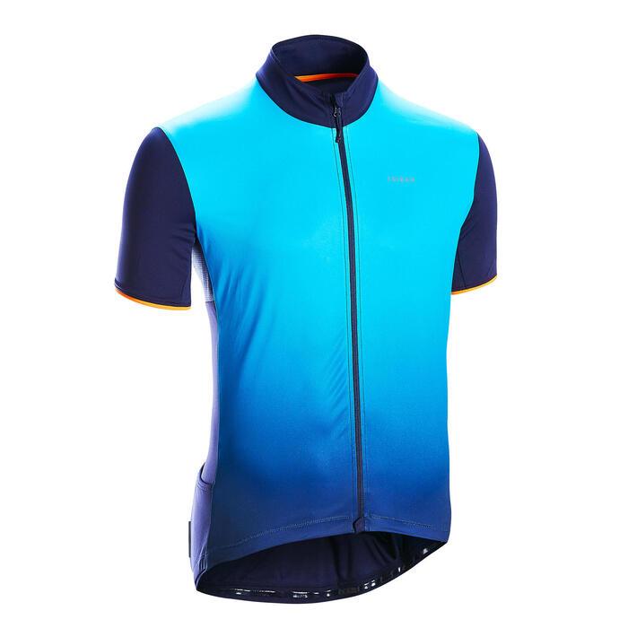 短袖公路自行車用車衣RC500-漸層藍