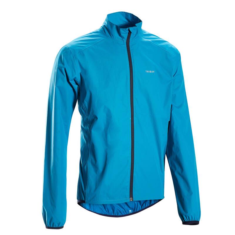 PÁNSKÉ OBLEČENÍ NA SILNIČNÍ CYKLISTIKU DO DEŠTIVÉHO POČASÍ Cyklistika - PÁNSKÁ PLÁŠTĚNKA RC100 MODRÁ TRIBAN - Cyklistické oblečení