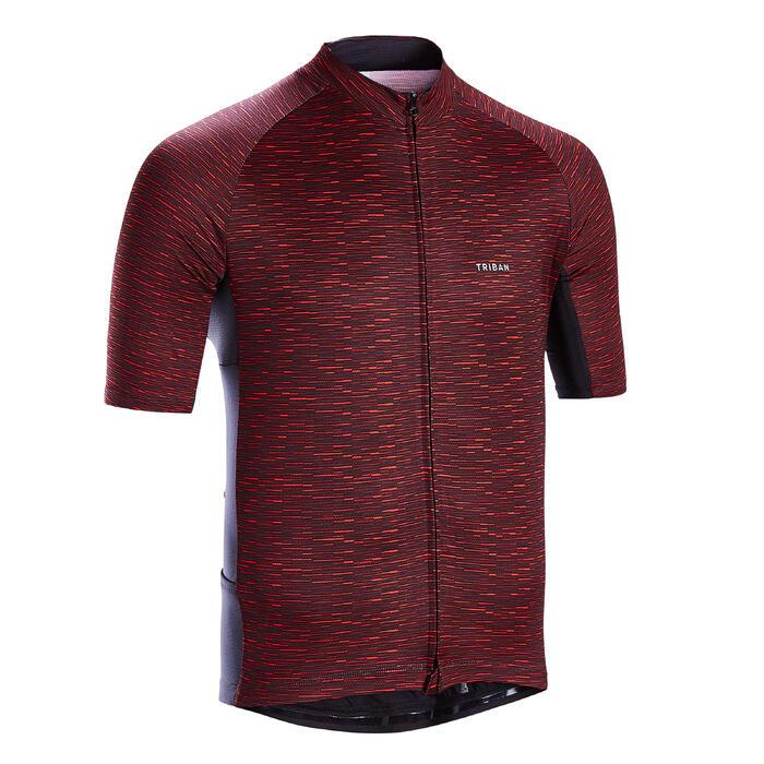 Fietsshirt met korte mouwen voor wielrennen heren RC100 warm weer rood snow
