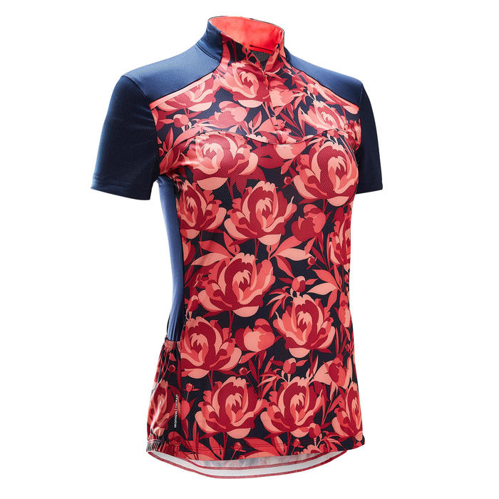 MAILLOT MANCHES COURTES VELO ROUTE FEMME TRIBAN 500 FLORAL ROSE