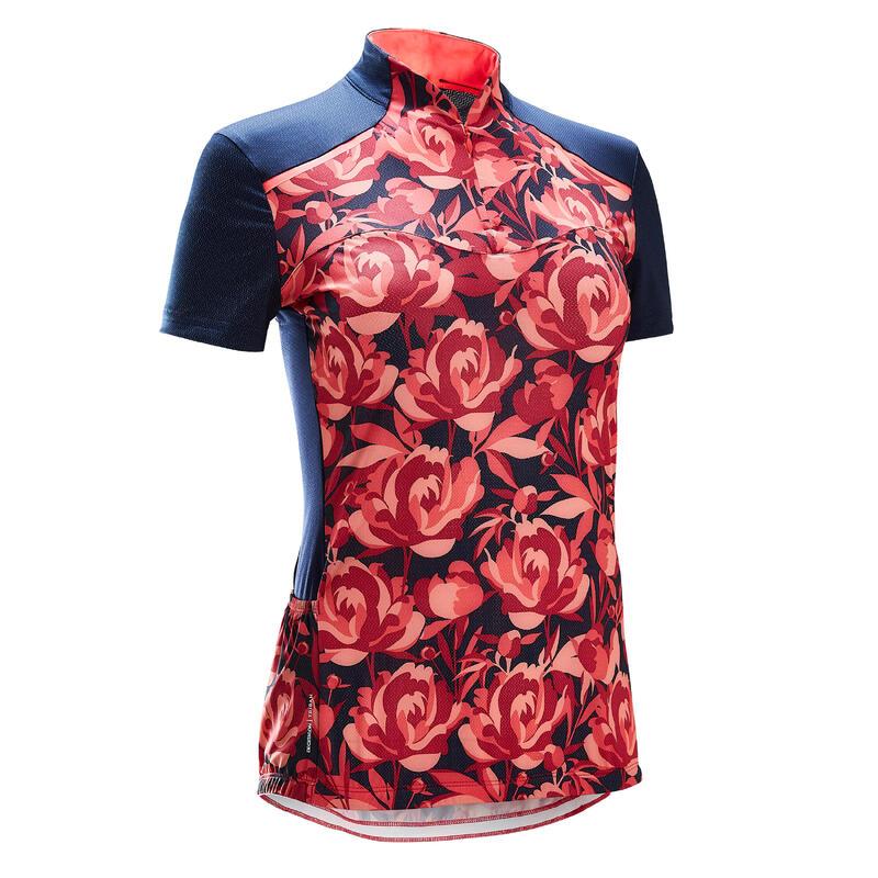 Fietsshirt met korte mouwen voor dames 500 Floral roze