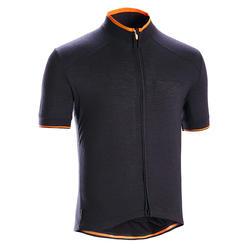 Fietsshirt met korte mouwen voor heren merinowol Triban zwart