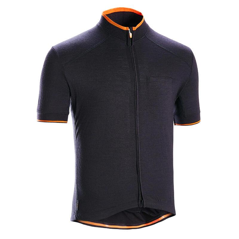 Tricou lână merinos Ciclism pe Șosea RC 900 Negru Bărbați