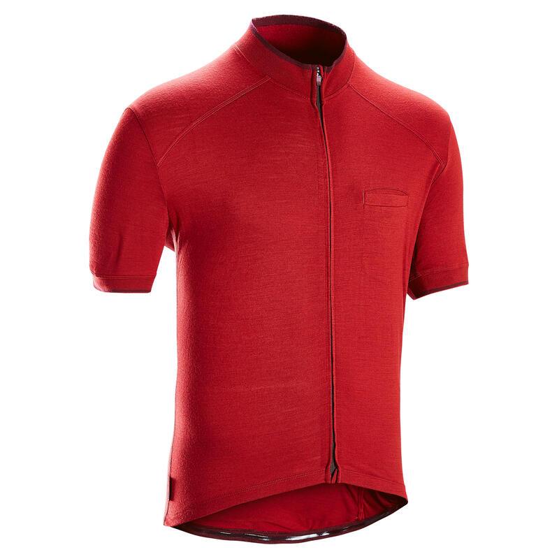 Tricou lână merinos Ciclism de Șosea RC 900 Bordo Bărbați