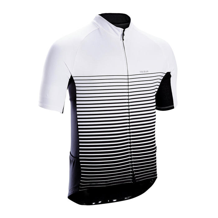 MAILLOT MANCHES COURTES VELO ROUTE TPS CHAUD TRIBAN RC100 LIGNE BLANC