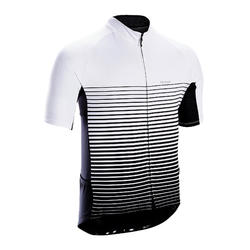 Men's Short-Sleeved Warm Weather Road Cycling Jersey RC100 - Stripes/White