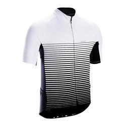 男款溫暖天候短袖公路自行車車衣RC100-條紋款/白色