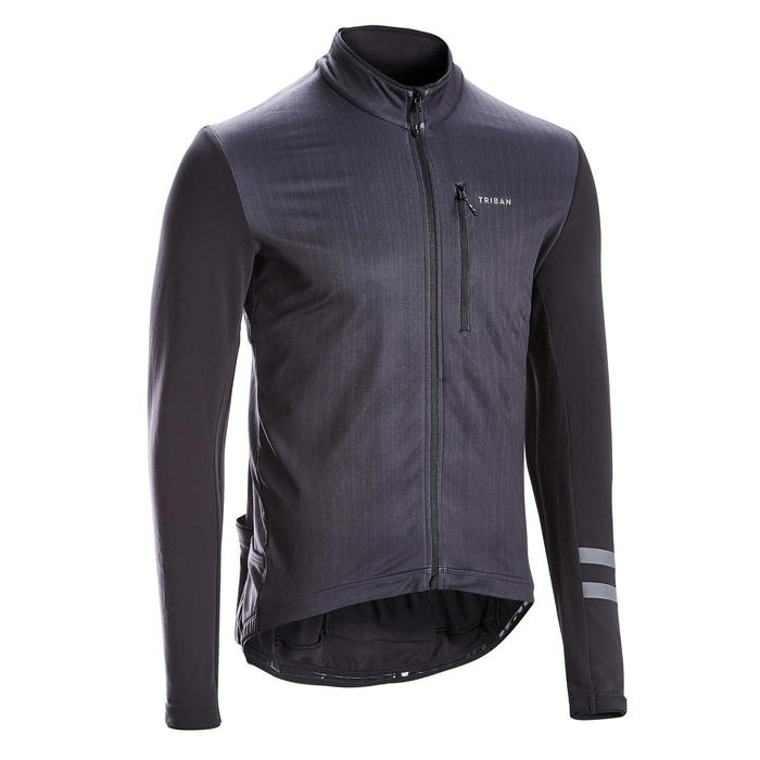 MAILLOT MANCHES LONGUES VELO ROUTE TRIBAN RC500 NOIR