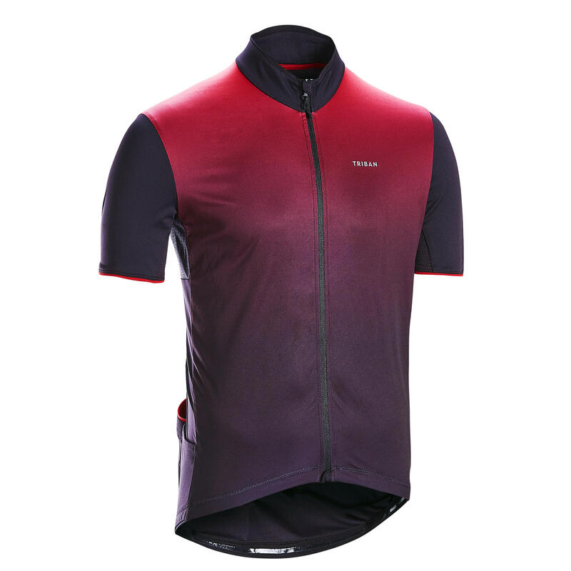 Short-Sleeved Road Cycling Jersey RC500 - Black/Burgundy