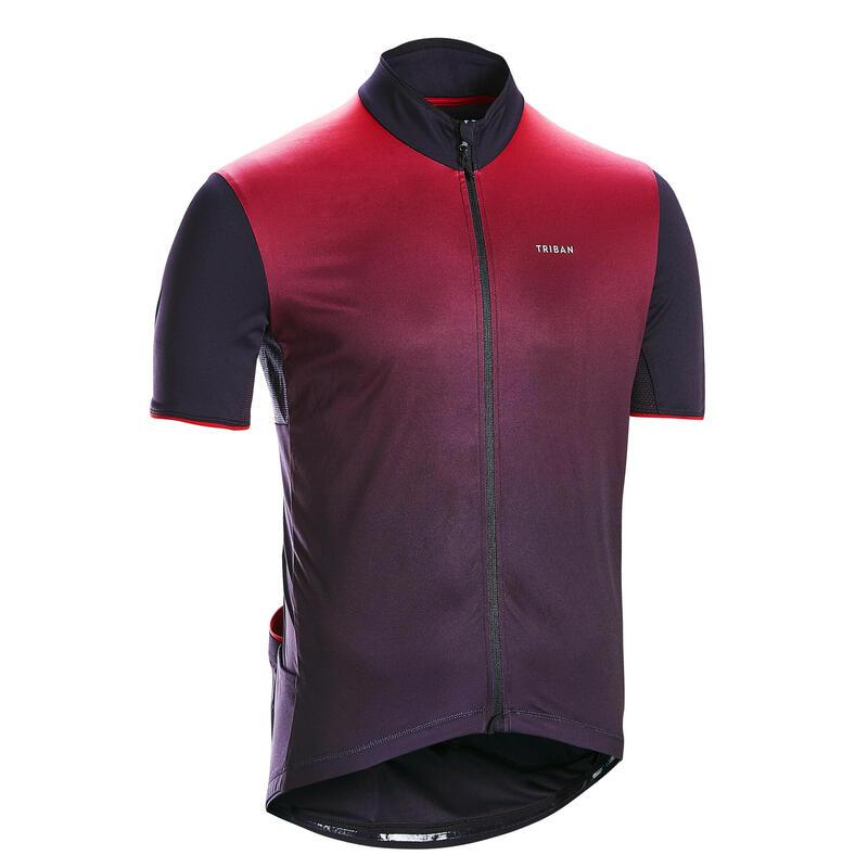 Tricou Ciclism de șosea RC 500 Negru-Bordo Bărbați
