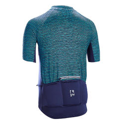 MAILLOT MANCHES COURTES VELO ROUTE TPS CHAUD TRIBAN RC100 SNOW BLEU