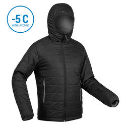 Men's Mountain trekking padded jacket TREK 100 with Hood - Black