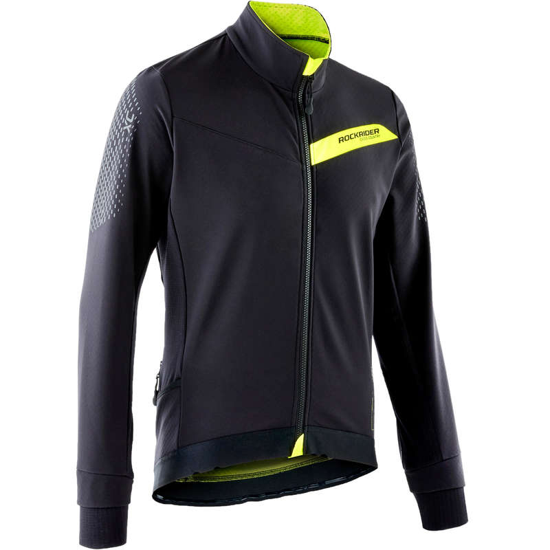 MEN COLD WEATHER CROSS C. MTB APPAREL Cycling - XC MTB Jacket - Black/Yellow ROCKRIDER - Cycling