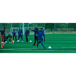 Short de football long adulte T500 bleu foncé