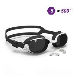 泳鏡B-FIT 500 - 白色/黑色,500度深色鏡片