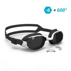SWIMMING GOGGLES 500 B-FIT WHITE BLACK SMOKE LENSES 600° / -6