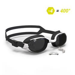 SWIMMING GOGGLES 500 B-FIT WHITE BLACK SMOKE LENSES 400° / -4