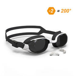 B-FIT Swimming Goggles 500 - White Black Smoke Lenses 200° / -2