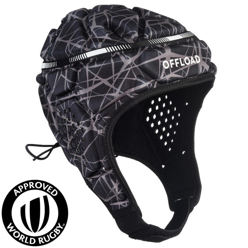 Casco Rugby Offload R500 Adulto Negro Gris