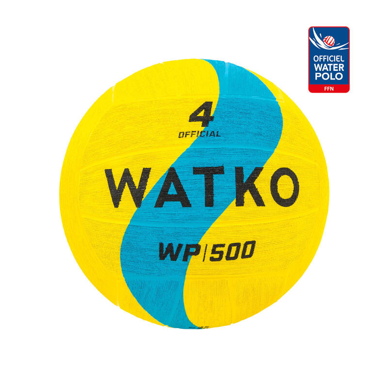 WATER POLO BALL WP500 OFFICIAL SIZE 4 - YELLOW/BLUE