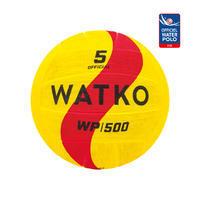 Balón Waterpolo WP500 Adulto Tamaño 5 Amarillo Rojo
