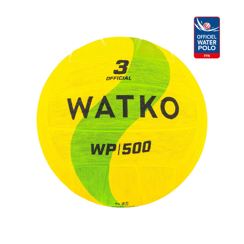 WATER POLO BALL WP500 OFFICIAL SIZE 3 - YELLOW/GREEN