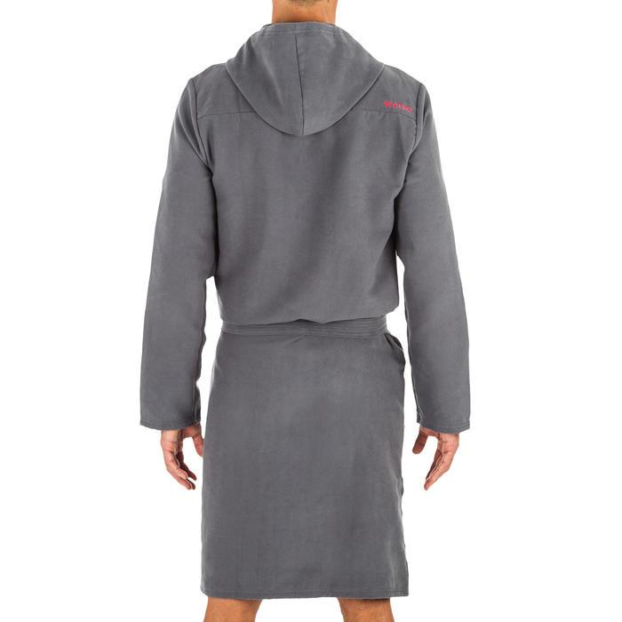 Badjas voor heren met capuchon van microvezel compact grijs