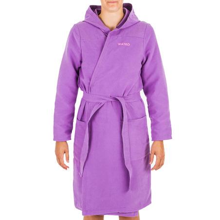 Bata natación Capucha Microfibra Compacto Mujer Violeta