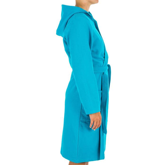 Peignoir de bain à capuche coton léger femme turquoise