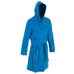 Men's Compact Microfibre Pool Bathrobe with Hood - Indigo Blue