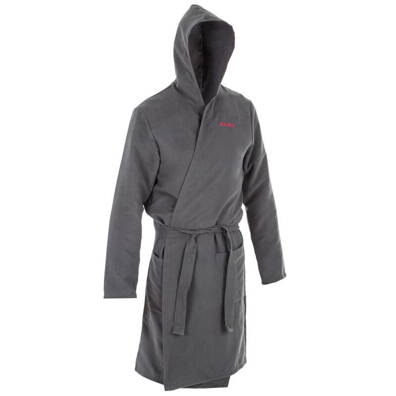 Compacte badjas voor heren microvezel grijs