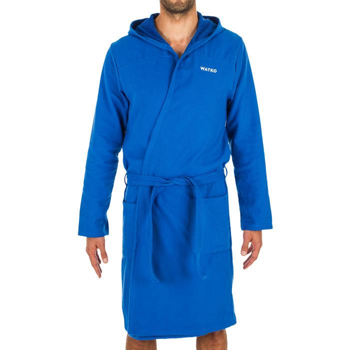 Peignoir de bain à capuche coton léger homme bleu clair