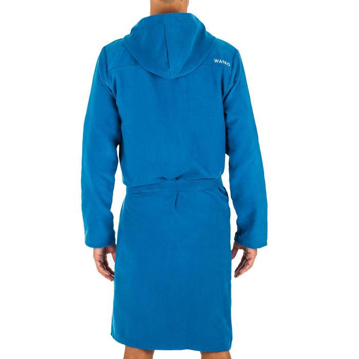 Badjas met capuchon voor heren blauw indigo compacte microvezel
