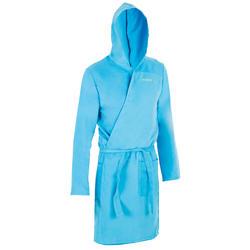 Roupão de natação com capuz microfibra compacto homem azul