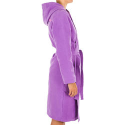 女款輕巧微纖維游泳連帽浴袍-紫色