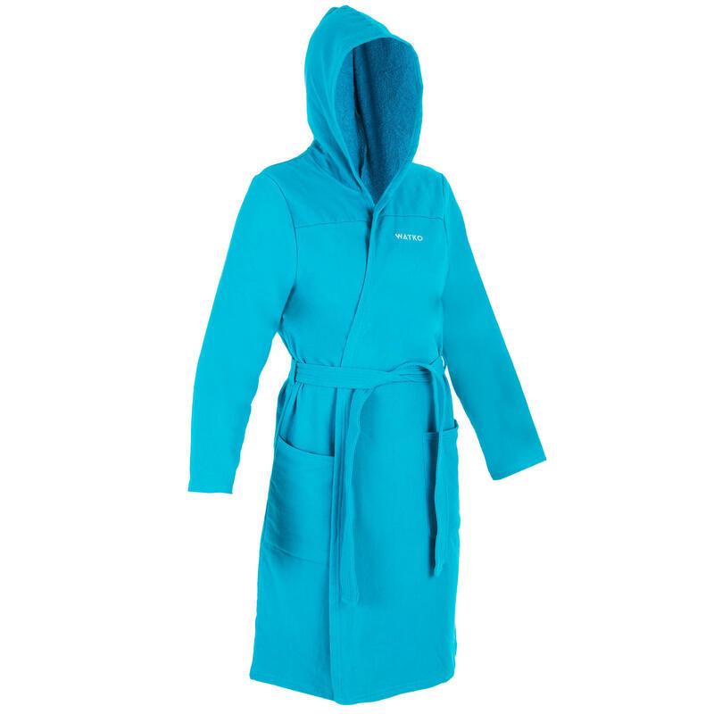 Badjas voor dames biokatoen turquoise