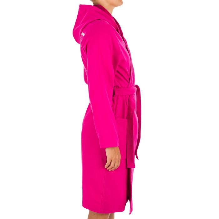 Badjas met capuchon voor dames roze licht katoen