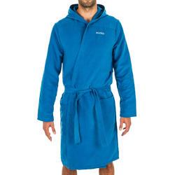 男款輕巧微纖維游泳連帽浴袍-靛藍色