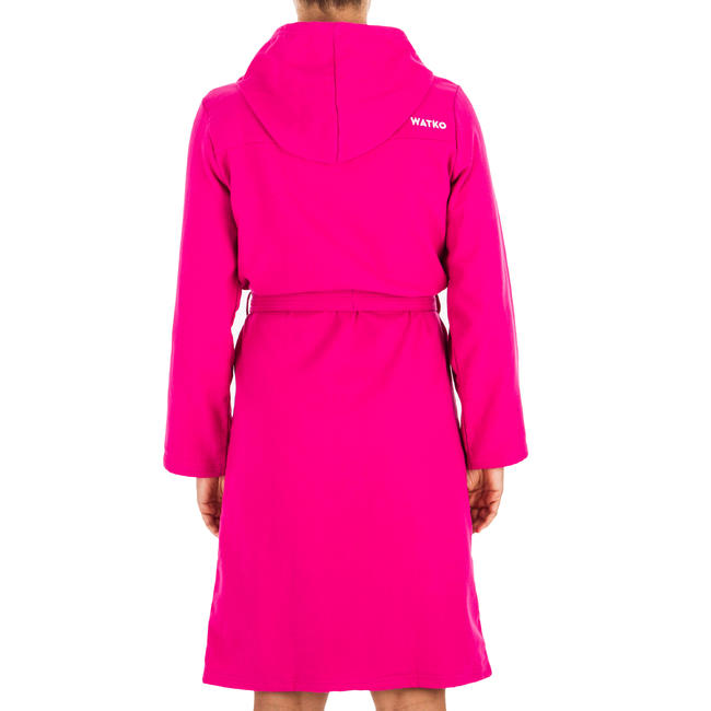 Women's Lightweight Cotton Pool Bathrobe with Hood - Pink